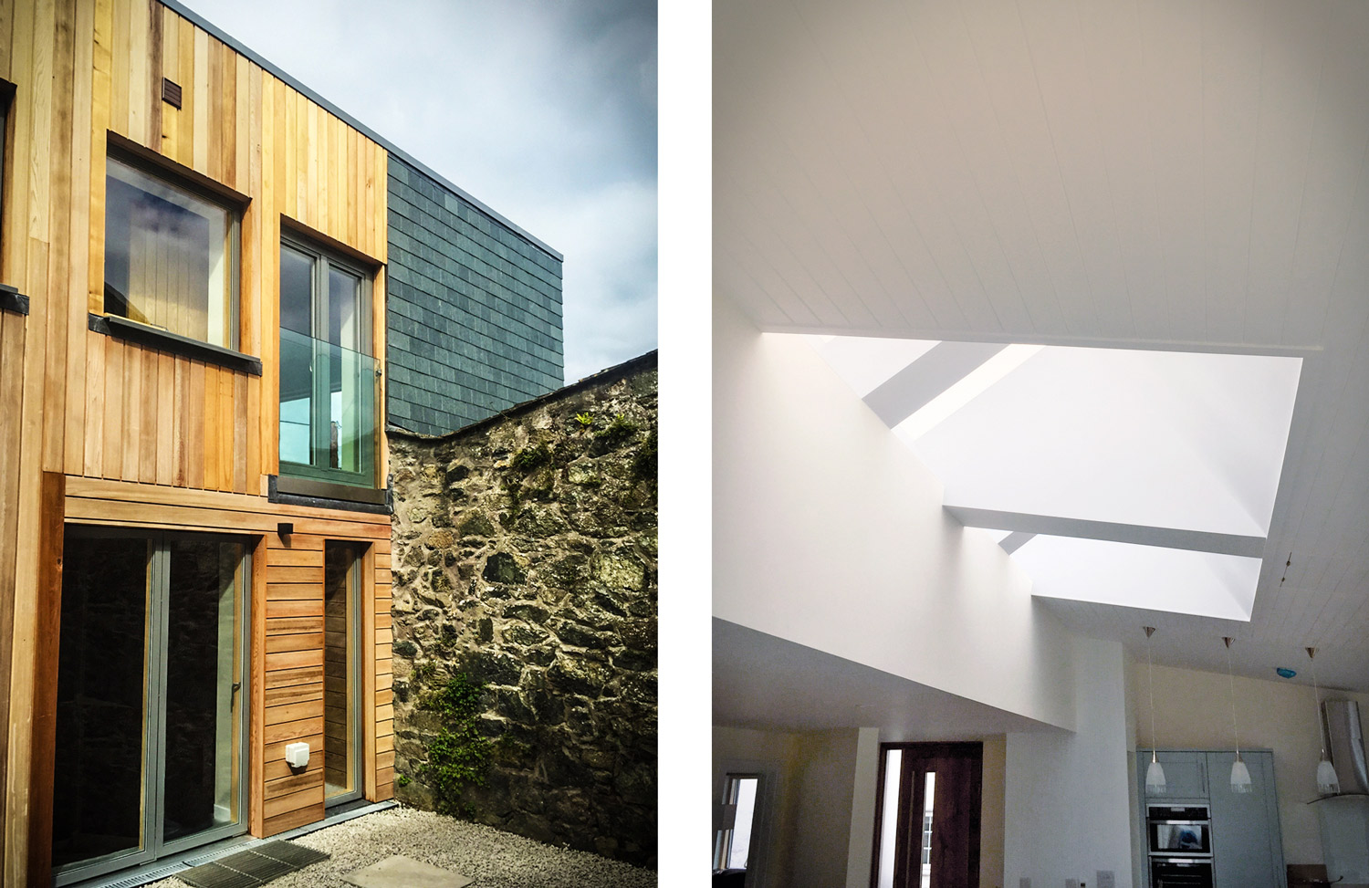 Costal designed home Cornwall outside and skylight
