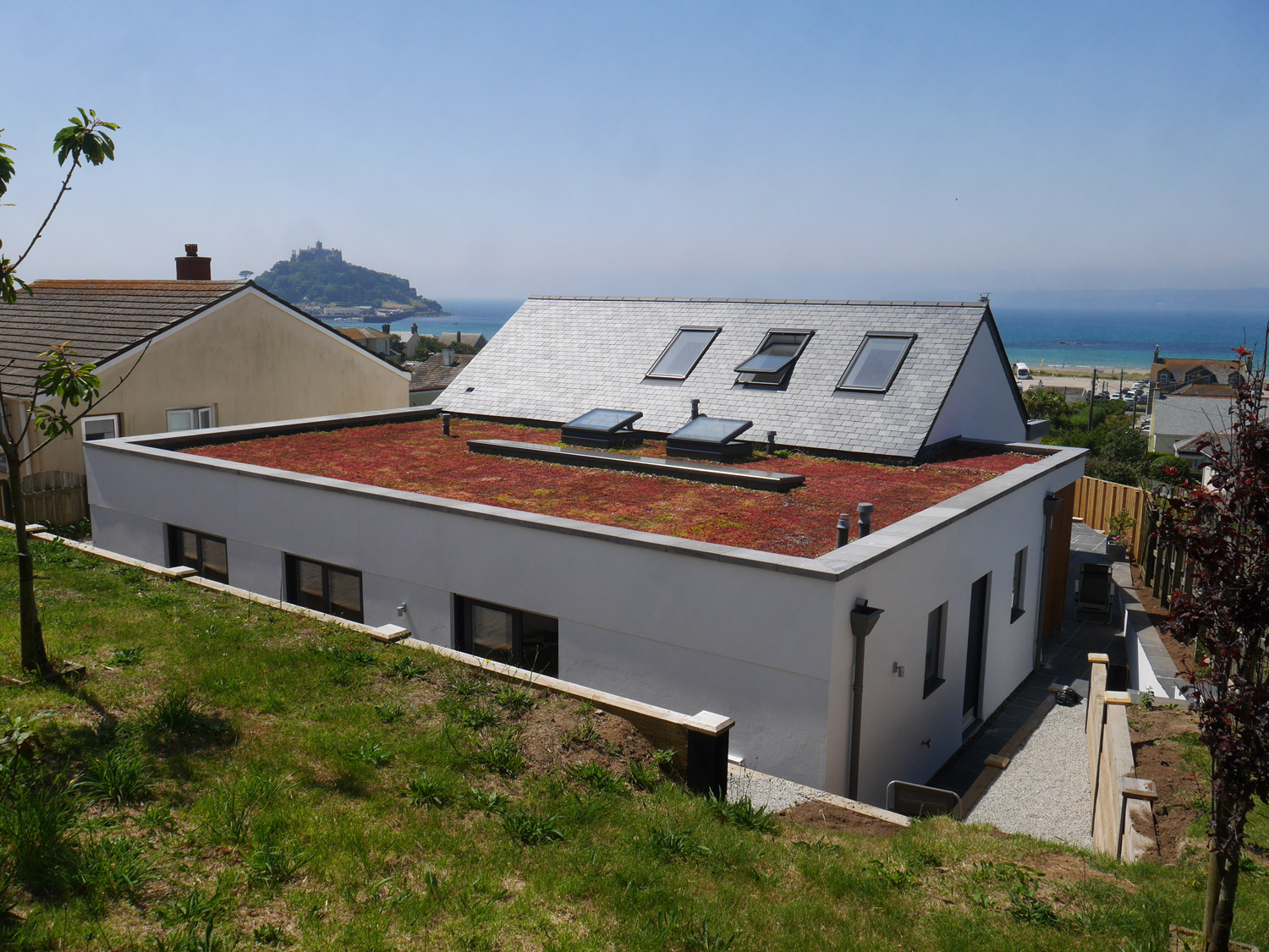 Cornwall designed new build house rear garden