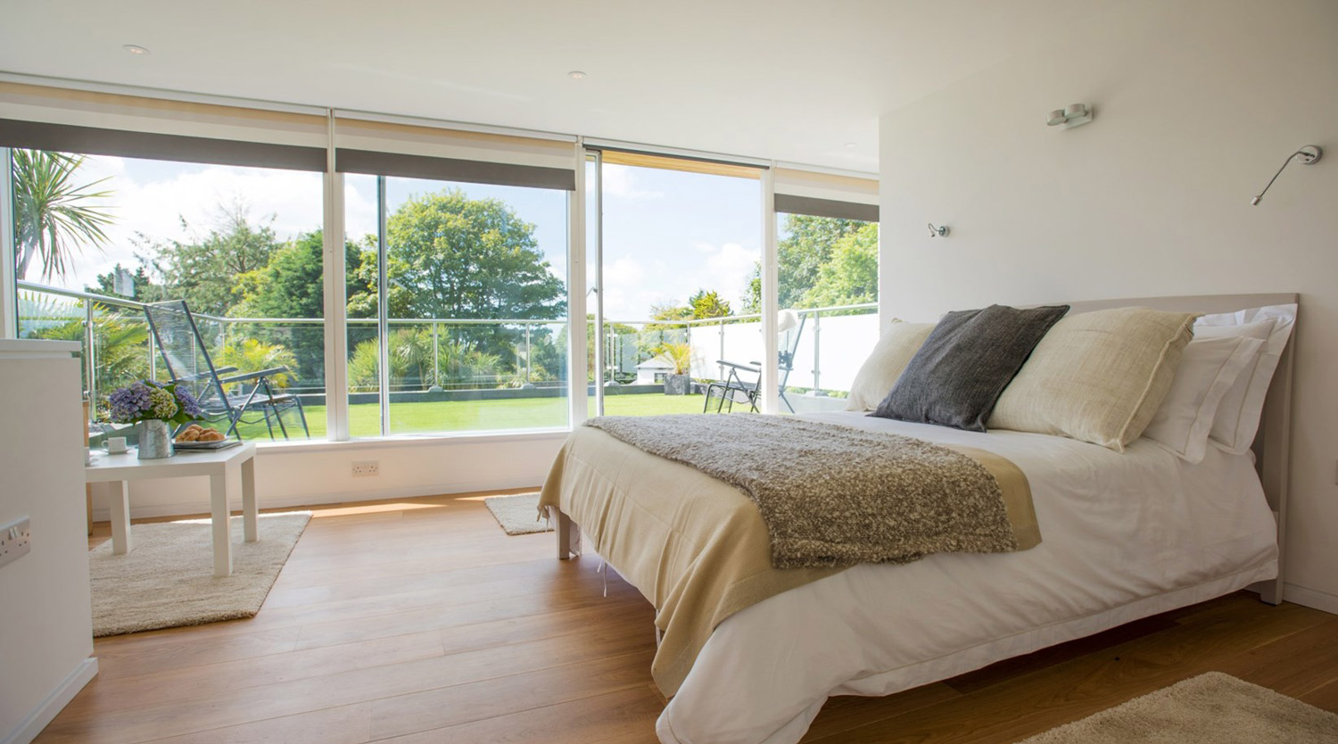 bedroom designed by architect in Cornwall