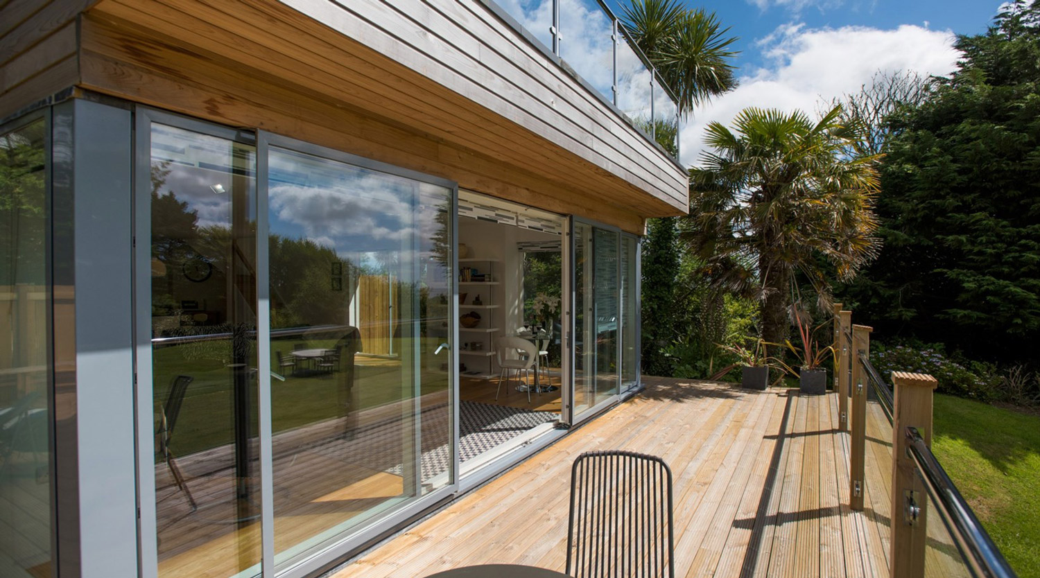 deck area designed by architect in Cornwall